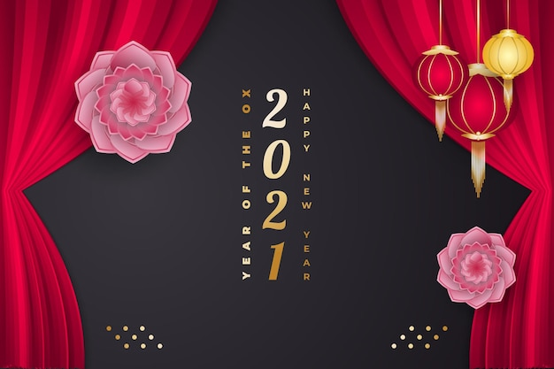 Gelukkig chinees nieuwjaar jaar van de os. chinees nieuwjaar versierd met bloem, lantaarns en gordijnen op zwarte achtergrond