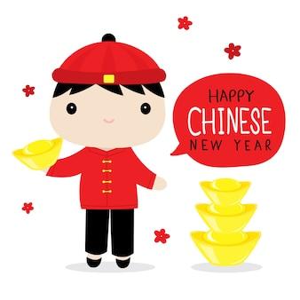 Gelukkig chinees nieuwjaar jongen cute cartoon