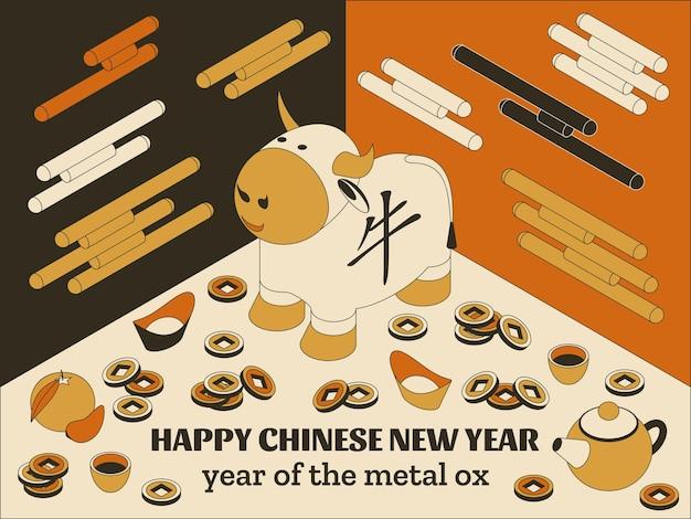 Gelukkig chinees nieuwjaar met creatieve witte os en hangende lantaarns Premium Vector