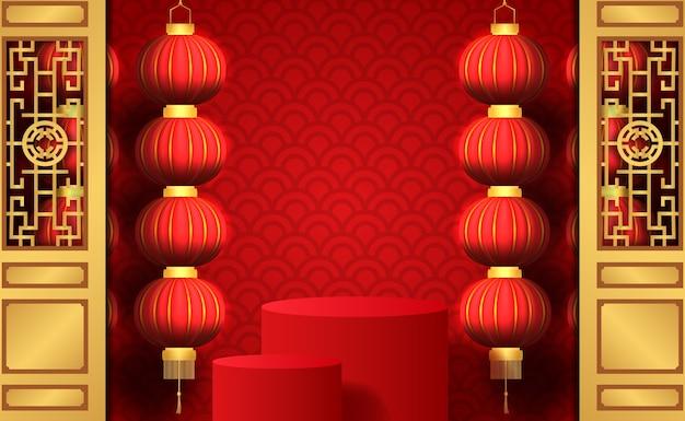 Gelukkig chinees nieuwjaar met hangende traditionele lantaarn met rode achtergrond met productvertoning op het podium voor marketing