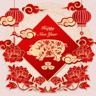 Gelukkig chinees nieuwjaar retro elegante reliëf pioen bloem lantaarn varken wolk ingots en lente couplet.