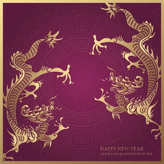 Gelukkig chinees nieuwjaar retro paarse elegante gouden draak en gunstige woorden
