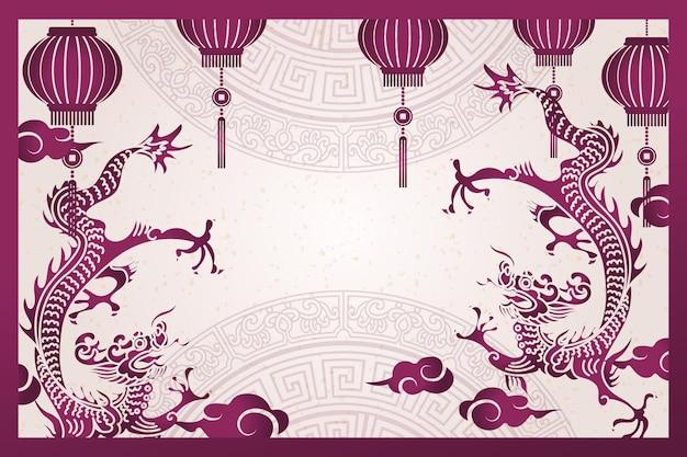 Gelukkig chinees nieuwjaar retro paarse traditionele frame draak lantaarn en cloud