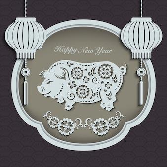 Gelukkig chinees nieuwjaar retro papier gesneden kunst en ambacht reliëf varken bloem lantaarn raamkozijn