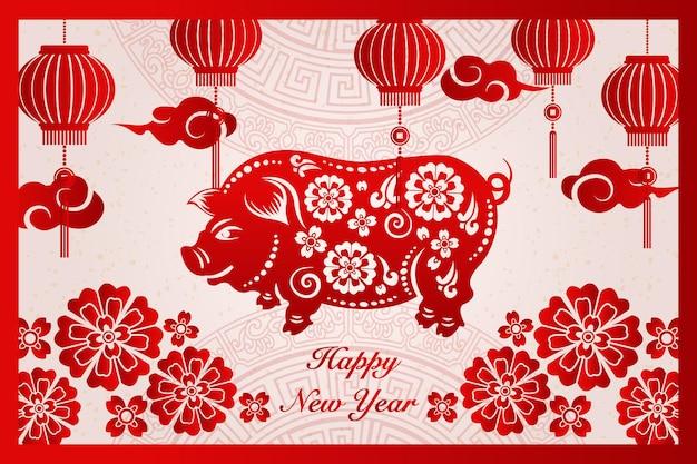 Gelukkig chinees nieuwjaar retro rode traditionele frame varken bloem lantaarn en cloud