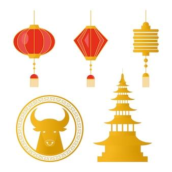 Gelukkig chinees nieuwjaar set pictogrammen