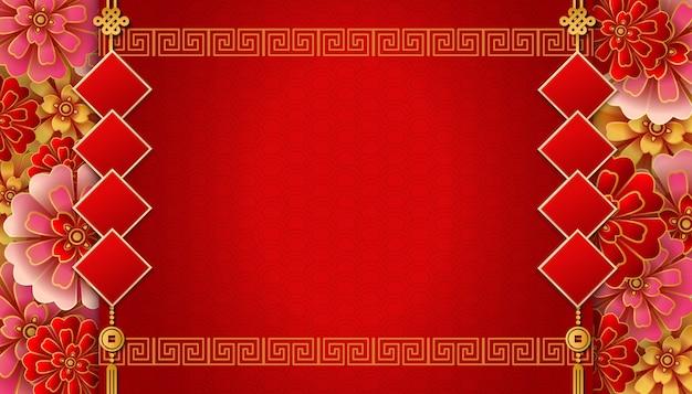 Gelukkig chinees nieuwjaar sjabloon met bloem couplet spiraal rooster framerand
