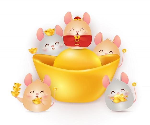 Gelukkig chinees nieuwjaar van de rat. sterrenbeeld van het jaar. vier kleine stripfiguur ratten met chinese gouden baar geïsoleerd.