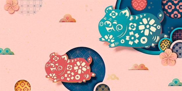 Gelukkig chinees nieuwjaarsbanner in roze met vliegend varkentje en bloemmotief in papierkunststijl