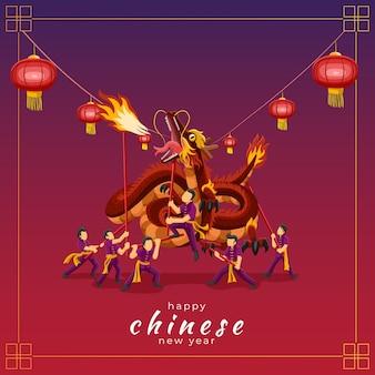 Gelukkig chinees nieuwjaarswenskaart met drakendansvoorstelling