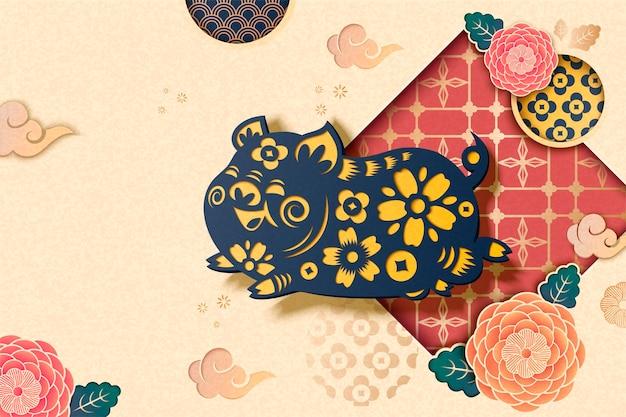 Gelukkig chinese stijl achtergrond met vliegende blauwe piggy en pioenroos patroon in papier kunststijl