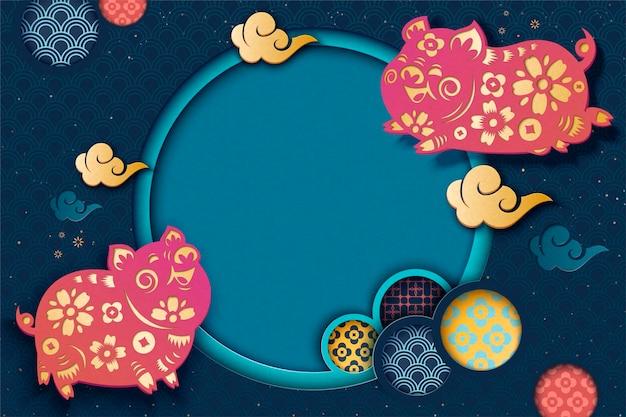 Gelukkig chinese stijl achtergrond met vliegende piggy en bloemmotief in papier kunststijl