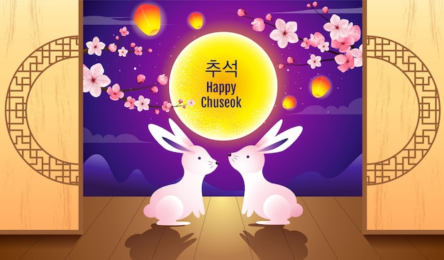 Gelukkig chuseok, midherfstfestival. konijnen, moon festival, vector illustratie.