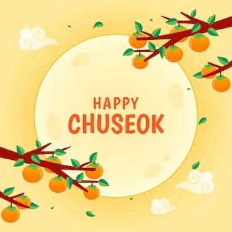 Gelukkig chuseok-wenskaart in plat ontwerp