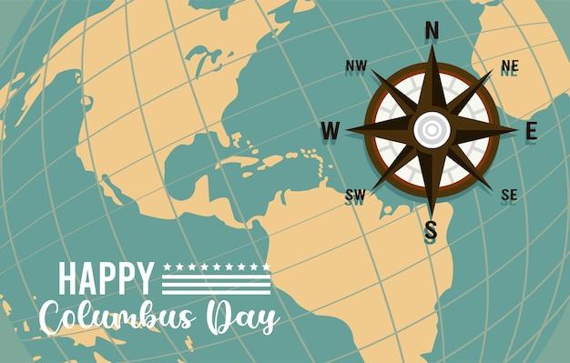 Gelukkig columbus-dagviering met kompasgids en amerikaans continent.