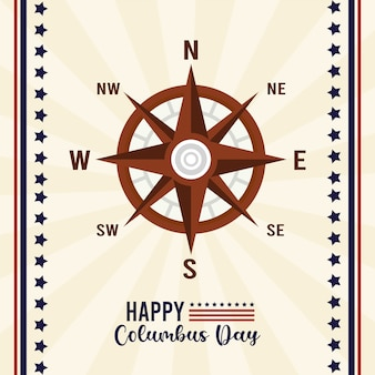 Gelukkig columbus day-feest met kompasgids en belettering.