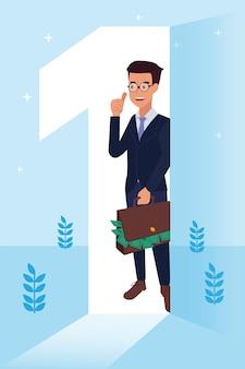 Gelukkig corporate man deed zijn werk als visie & missie en vieren, leiderschapssucces en loopbaanvooruitgang concept, vlakke afbeelding