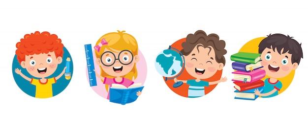Gelukkig cute cartoon schoolkinderen
