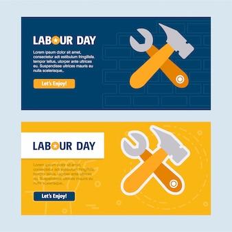 Gelukkig dag van de arbeid ontwerp met gele en blauwe thema