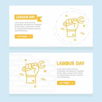 Gelukkig dag van de arbeid ontwerp met gele thema-vector