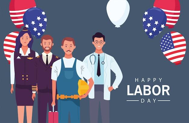 Gelukkig dag van de arbeid viering met helium van werknemers ballonnen