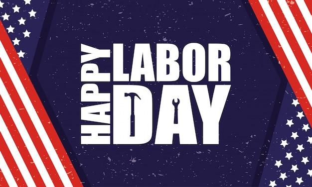 Gelukkig dag van de arbeid viering met usa vlag en belettering