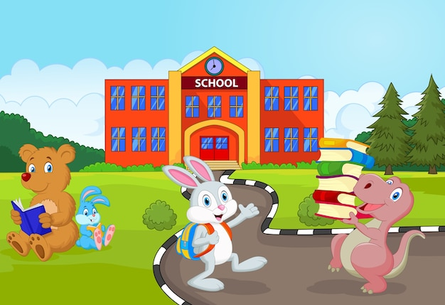 Gelukkig dier naar school gaan