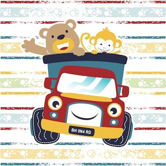 Gelukkig dierenbeeldverhaal met grappige vrachtwagen op kleurrijke gestreepte achtergrond