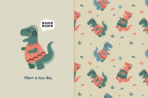 Gelukkig dinosaurus en naadloos patroon
