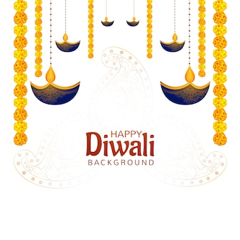 Gelukkig diwali diya hindoe festival van lichten kaart achtergrond