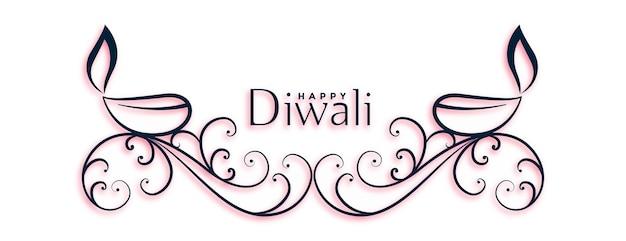 Gelukkig diwali festival bloemen en diya belettering ontwerp