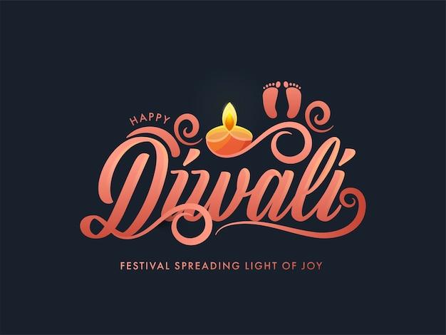 Gelukkig diwali-festival dat licht van vreugde-tekst verspreidt met godinvoetafdruk en aangestoken olielamp