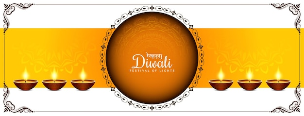 Gelukkig diwali-festival decoratieve elegante banner ontwerp vector