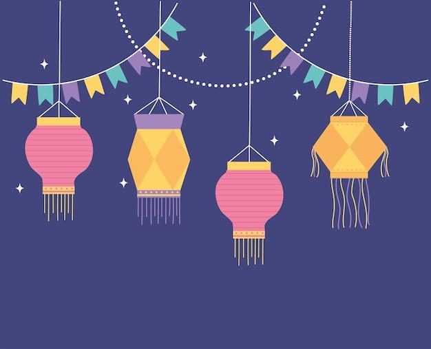 Gelukkig diwali-festival, decoratieve gorslantaarnsachtergrond.