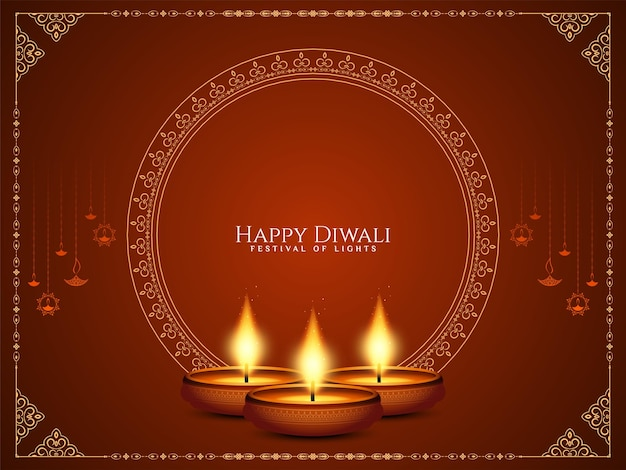 Gelukkig diwali festival elegante groet achtergrond ontwerp vector