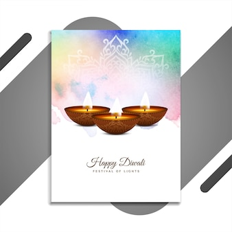 Gelukkig diwali festival kleurrijk brochureontwerp