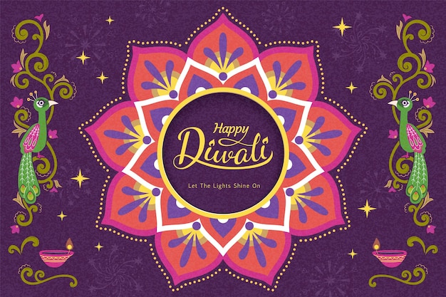 Gelukkig diwali-festival met rangoli