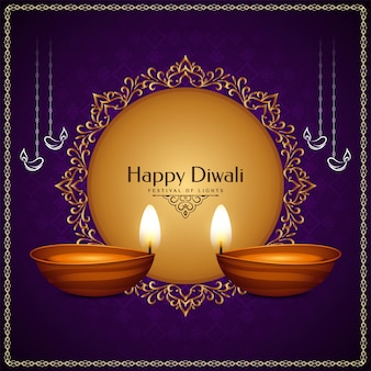 Gelukkig diwali-festival met rond gouden frame