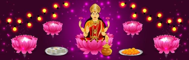 Gelukkig diwali-festival van india, vieringsbanner