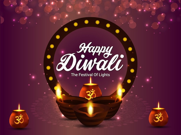 Gelukkig diwali-festival van licht met diwali-lichtpot en diya