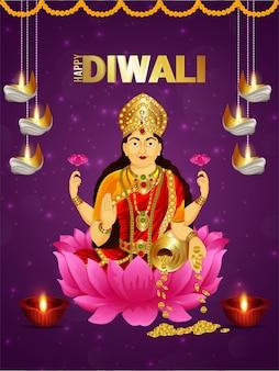 Gelukkig diwali-festival van licht met godin laxami
