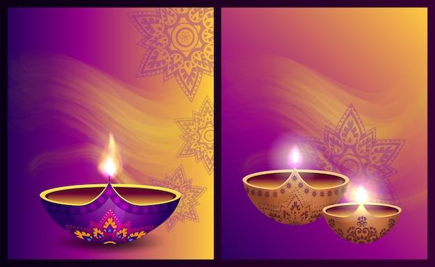 Gelukkig diwali-festival van lichte vectorillustratie