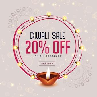 Gelukkig diwali festival verkoop bannerontwerp