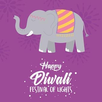 Gelukkig diwali-festival, wenskaart met poster van olifanten heilige dieren.
