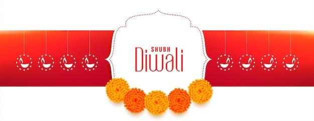 Gelukkig diwali-festivalbanner met bloemendecoratie