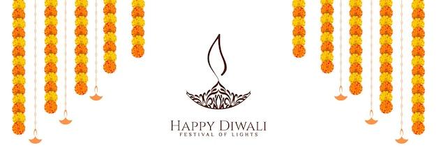 Gelukkig diwali-festivalbannerontwerp met bloemenvector
