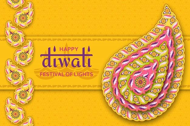 Gelukkig diwali geel sjabloon met bloemenpaisley en mandala. licht festival