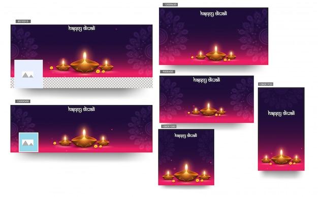 Gelukkig diwali header banner sjabloon set met verlichte olielamp (diya) op paars en roze mandala patroon