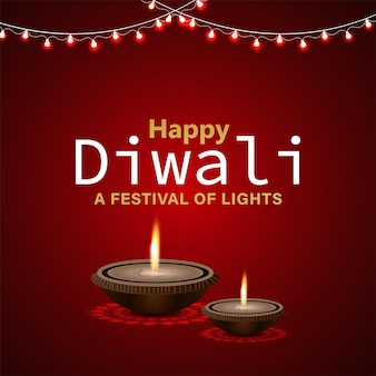 Gelukkig diwali indian festival van lichte viering wenskaart met olielamp