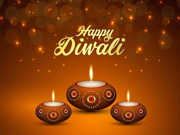 Gelukkig diwali indisch festival van licht met vectorillustratie